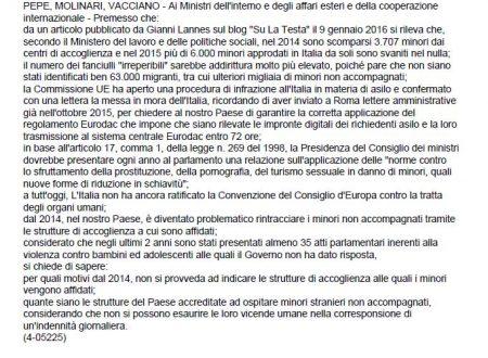 DUE INTERROGAZIONI PARLAMENTARI SUI MINORI SCOMPARSI IN ITALIA!