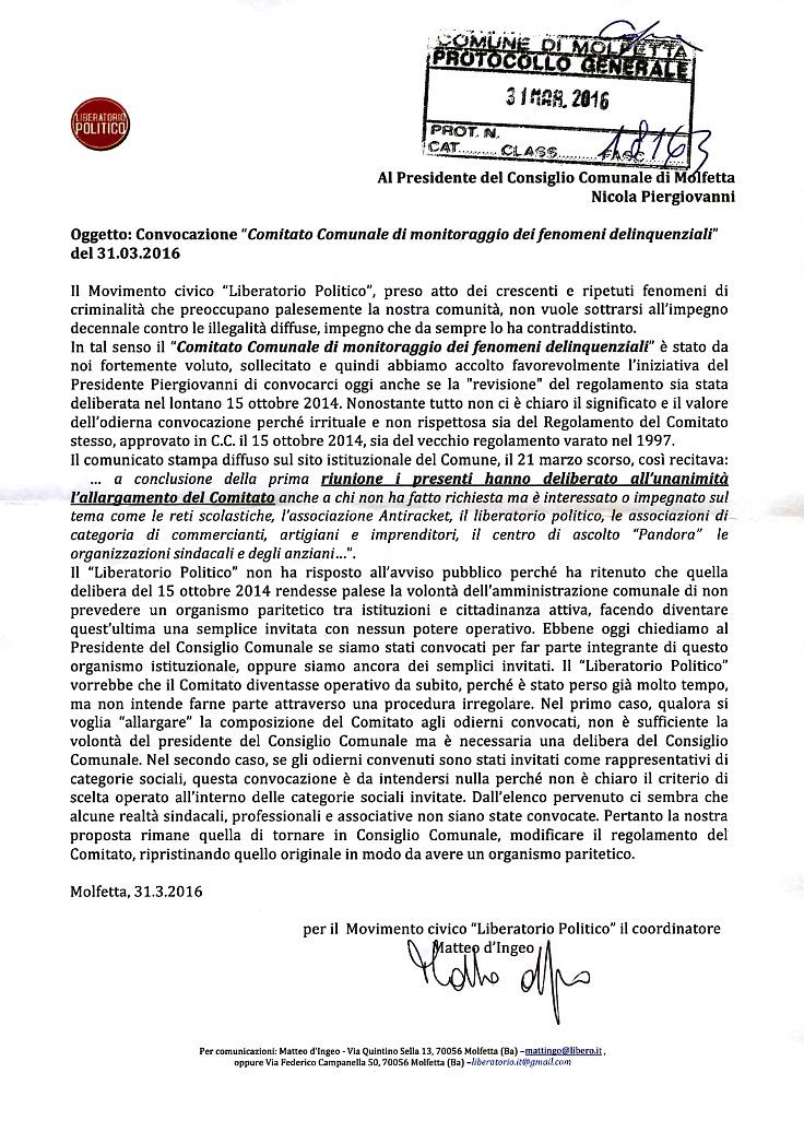 Lettera Revisione Regolamento Comitato .31.4.2016