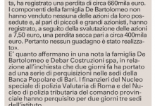 """La Procura: """"Così i De Bartolomeo scavalcarono gli azionisti della Banca Popolare di Bari"""""""