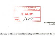 Una lapide per il Sindaco Gianni Carnicella per il XXV anniversario del suo assassinio