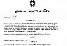 Nominati i presidenti dei 61 seggi elettorali a Molfetta