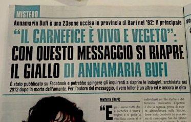 Dopo 27 anni potrebbe essere riaperto, per la quarta volta, il caso dell'omicidio di Anna Maria Bufi