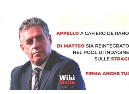 Firma l'appello: richiesta di reintegro del dott. Antonino Di Matteo nel pool sulle stragi