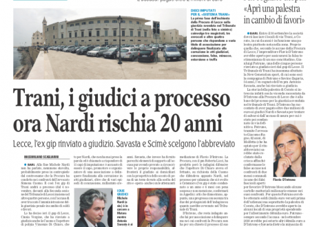 «Sistema Trani», magistrati arrestati: l'ex pm Nardi rinviato a giudizio