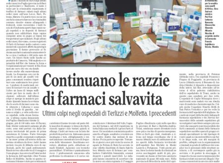 Continuano le razzie di farmaci salvavita.. Ultimi colpi negli ospedali di Terlizzi e Molfetta. Possibile presenza di talpe.