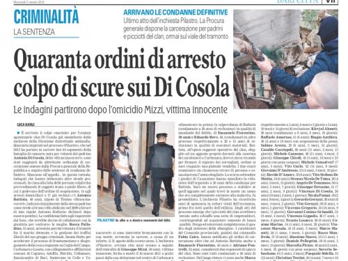 Quaranta ordini di arresto colpo di scure sui Di Cosola.