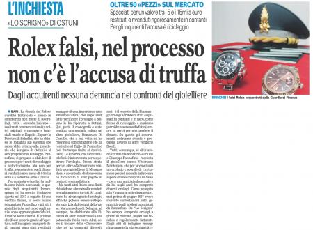 La Procura di Brindisi ha chiuso l'indagine sui Rolex falsi; a rivenderli c'era anche un 40enne di Molfetta