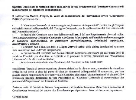 """Matteo d'Ingeo si dimette dalla carica di vice presidente del """"Comitato Comunale di monitoraggio dei fenomeni delinquenziali"""""""
