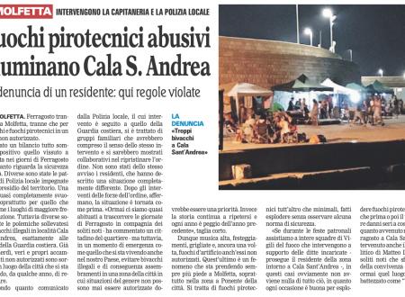Fuochi pirotecnici abusivi illuminano Cala S. Andrea