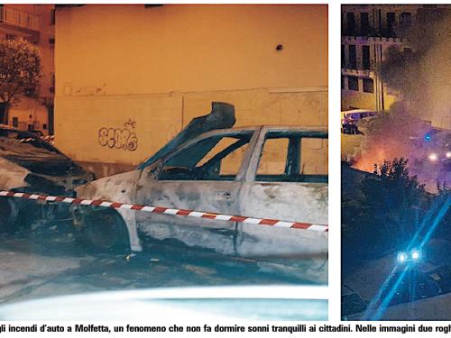 Auto incendiate a Molfetta il sindaco va in Procura. Il Liberatorio :«Dal 2018 fino ad oggi l'Amministrazione non ha mosso un dito».